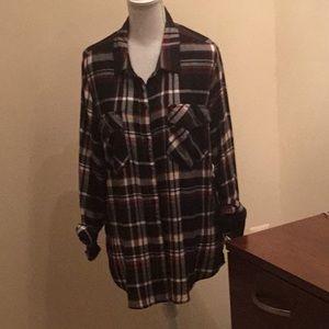 Sanctuary extra long plaid flannel shirt.